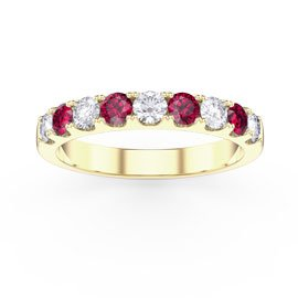 Promise Ruby and White Sapphire 18ct Yellow Gold Half Eternity Ring 3mm Band