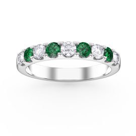 Promise Emerald and White Sapphire 18ct White Gold Half Eternity 3mm Ring Band