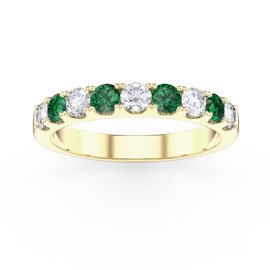 Promise Emerald and White Sapphire 18ct Yellow Gold Half Eternity 3mm Ring Band