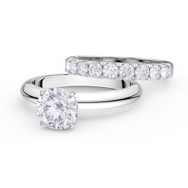 Unity 2ct White Sapphire 18ct Gold Engagement Wedding Ring Set (H WHITE GOLD)
