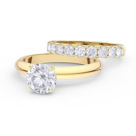 Unity 2ct White Sapphire 18ct Gold Engagement Wedding Ring Set (H YELLOW GOLD)
