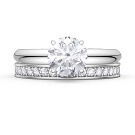 Unity 1.5ct White Sapphire 18ct Gold Engagement Wedding Ring Set (F WHITE GOLD)