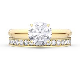 Unity 1.5ct White Sapphire 18ct Gold Engagement Wedding Ring Set (F YELLOW GOLD)