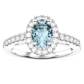 Eternity Aquamarine and Diamond Oval Halo Platinum Engagement Ring