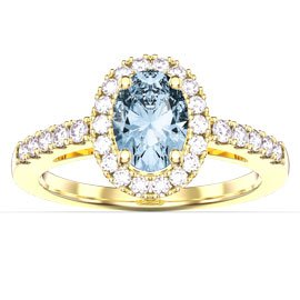 Eternity Aquamarine and Diamond Oval Halo 18ct Yellow Gold Engagement Ring