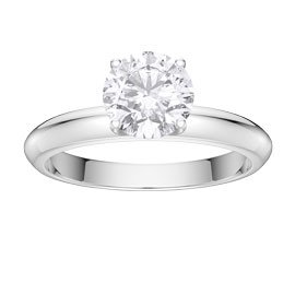 Unity 1ct White Sapphire Platinum plated Silver Promise Ring