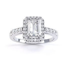 Princess White Sapphire Emerald Cut Halo Platinum plated Silver Promise Ring