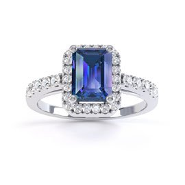 Princess Blue and White Sapphire Emerald Cut Halo Platinum plated Silver Promise Ring