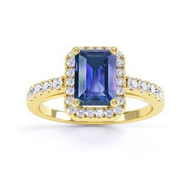 Princess Blue and White Sapphire Emerald Cut 18ct Gold Vermeil Promise Ring