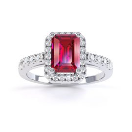 Princess Ruby and White Sapphire Emerald Cut Halo Platinum plated Silver Promise Ring