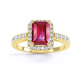 Princess Ruby and White Sapphire Emerald Cut Halo 18ct Yellow Gold Promise Ring