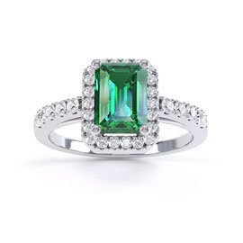 Princess Emerald and White Sapphire Emerald Cut Halo 18ct White Gold Engagement Ring
