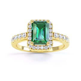 Princess Emerald and White Sapphire Emerald Cut Halo 18ct Yellow Gold Engagement Ring