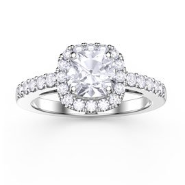 Princess White Sapphire Cushion Cut Halo Platinum plated Silver Promise Ring
