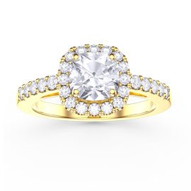 Princess White Sapphire Cushion Cut Halo 18ct Yellow Gold Engagement Ring