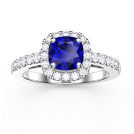 Princess Blue Sapphire and Diamond Cushion Cut Halo Platinum Engagement Ring