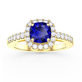 Princess Blue and White Sapphire Cushion Cut Halo 18ct Gold Vermeil Promise Ring