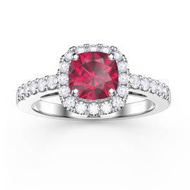 Princess Ruby and White Sapphire Cushion Cut Halo Platinum plated Silver Promise Ring