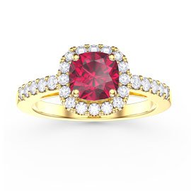 Princess Ruby and White Sapphire Cushion Cut Halo 18ct Gold Vermeil Promise Ring