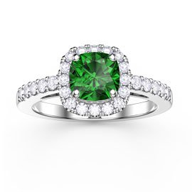 Princess Emerald and Diamond Cushion Cut Halo Platinum Engagement Ring