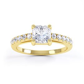 Unity Cushion Cut Diamond 18ct Yellow Gold Engagement Ring