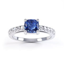 Unity Sapphire and Diamond Silver Promise Ring (CUSHION CUT WHITE GOLD)