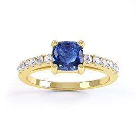 Unity Sapphire and Diamond Silver Promise Ring (CUSHION CUT YELLOW GOLD)