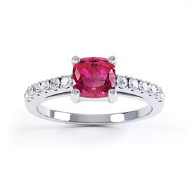 Unity Ruby and White Sapphire Silver Promise Ring (CUSHION CUT WHITE GOLD)