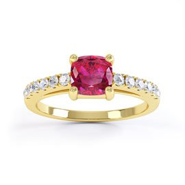 Unity Ruby and White Sapphire Silver Promise Ring (CUSHION CUT YELLOW GOLD)