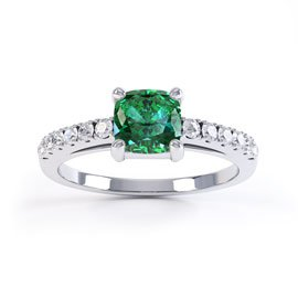 Unity Emerald and White Sapphire Silver Promise Ring (CUSHION CUT WHITE GOLD)