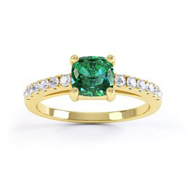 Unity Emerald and White Sapphire Silver Promise Ring (CUSHION CUT YELLOW GOLD)