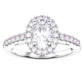 Eternity White Sapphire Oval Halo Platinum plated Silver Promise Ring
