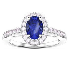 Eternity Sapphire Oval Halo Platinum plated Silver Promise Ring
