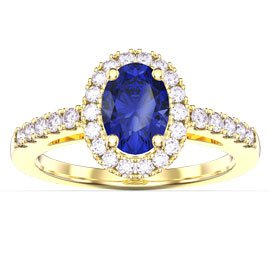 Eternity Sapphire Oval Halo 18ct Gold Vermeil Promise Ring