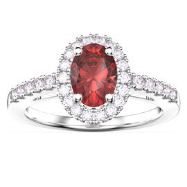Eternity Ruby and White Sapphire Oval Halo Platinum plated Silver Proposal Ring