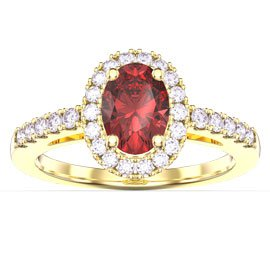 Eternity Ruby and White Sapphire Oval Halo 18ct Gold Vermeil Proposal Ring