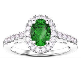 Eternity Emerald and White Sapphire Oval Halo Platinum plated Silver Promise Ring