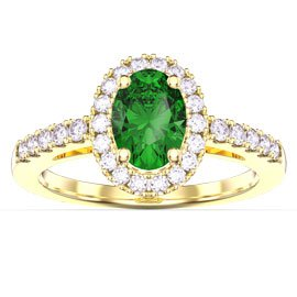 Eternity Emerald and White Sapphire Oval Halo 18ct Gold Vermeil Promise Ring