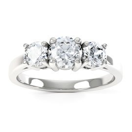 Eternity Three Stone Diamond 18ct White Gold Engagement Ring