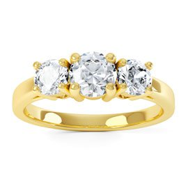 Eternity Three Stone Diamond 18ct Yellow Gold Engagement Ring