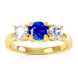 Eternity Three Stone Blue and White Sapphire Platinum plated Silver Promise Ring