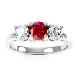 Eternity Three Stone Ruby and Diamond Platinum Engagement Ring