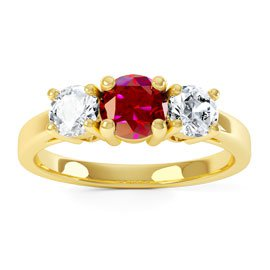 Eternity Three Stone Ruby and White Sapphire Platinum plated Silver Promise Ring