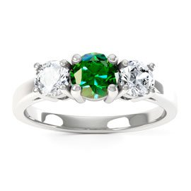 Eternity Three Stone Emerald and White Sapphire Platinum plated Silver Promise Ring