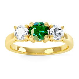 Eternity Three Stone Emerald and White Sapphire 18ct Gold Vermeil Promise Ring