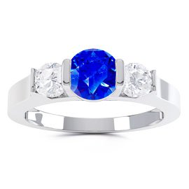 Unity Three Stone Sapphire and White Sapphire Platinum plated Silver Promise Ring