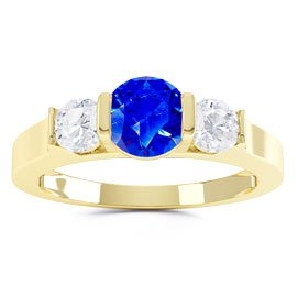 Unity Three Stone Blue and White Sapphire Platinum plated Silver Promise Ring