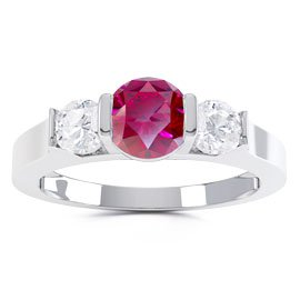 Unity Three Stone Ruby and White Sapphire Platinum plated Silver Promise Ring