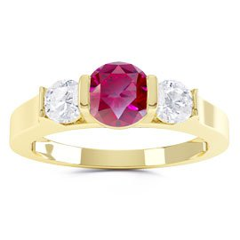 Unity Three Stone Ruby and White Sapphire 18ct Gold Vermeil Promise Ring