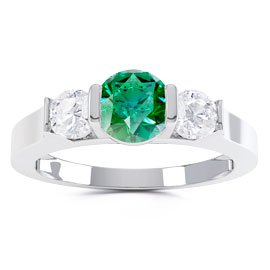 Unity Three Stone Emerald and White Sapphire Platinum plated Silver Promise Ring